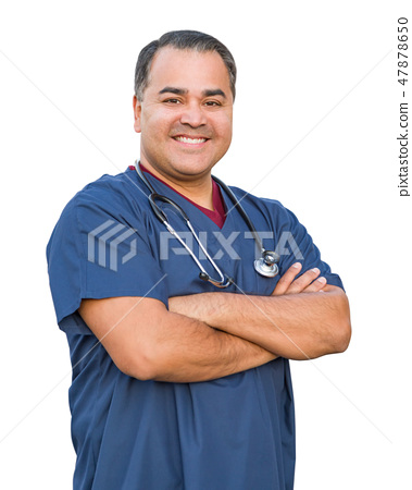 Handsome Hispanic Male Nurse Isolated On White 47878650