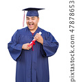 Hispanic Man With Diploma, Graduation Cap and Gown 47878653