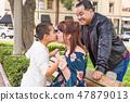 Mixed Race Hispanic Caucasian Family at a Park 47879013