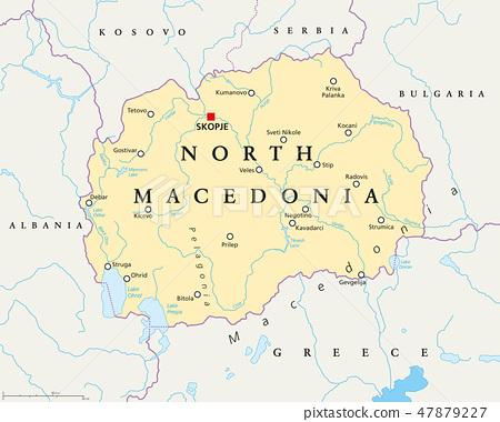 North Macedonia political map 47879227