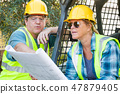 Male and Female Contractors at Construction Site 47879405