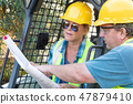 Male and Female Contractors at Construction Site 47879410