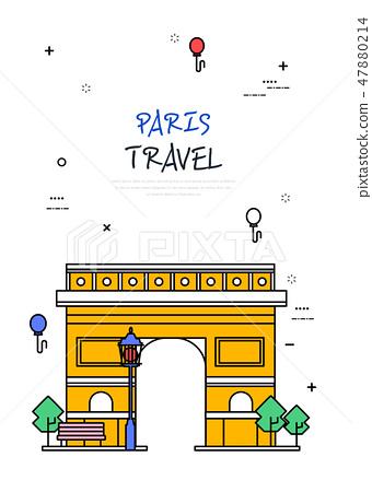 프랑스 세계 여행 라인 일러스트 47880214