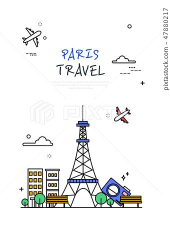 프랑스 세계 여행 라인 일러스트 47880217