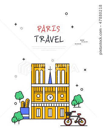 프랑스 세계 여행 라인 일러스트 47880218