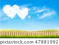 Nature background with blue sky and two heart  47881992