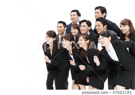 企業白色後面大小組商人女性人 47882191