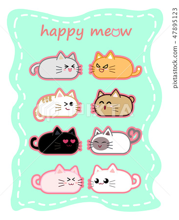 Collection of round cat cartoon character design. 47895123