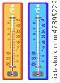 더운 날씨와 추운 날씨 온도계 Thermometers for hot and cold weather 47895229