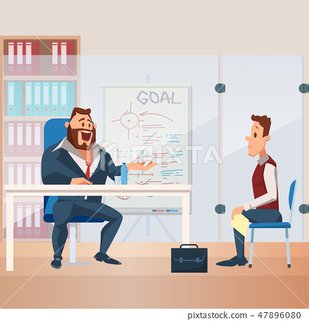 Nervous Man have Job Interview with Office Manager 47896080
