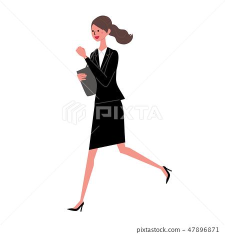 運行插圖的女商人 47896871
