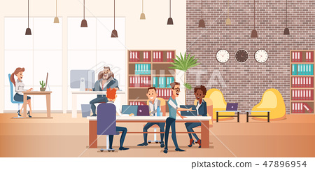 Coworking Space with Creative People Sit at Table 47896954