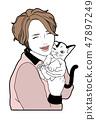 고양이와 여자 47897249