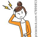 年轻的女士妈妈头痛 47899853