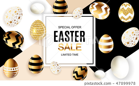 Happy Easter Cute Sale Poster  Background with Eggs. Vector Illustration 47899978