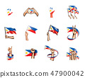 Philippines flag and hand on white background. Vector illustration 47900042