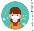마스크를 붙인 여학생 정면 - 감기 바이러스 백신 원형 아이콘 47900307