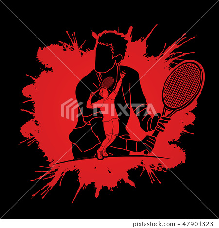 Double exposure, Tennis player sports man graphic  47901323