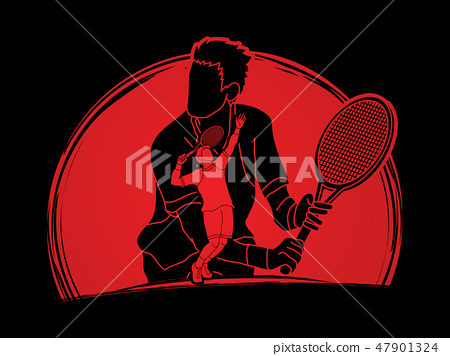 Double exposure, Tennis player sports man graphic  47901324