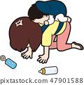 年輕的媽媽感到沮喪 47901588