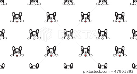 Dog seamless pattern french bulldog vector repeat 47901892