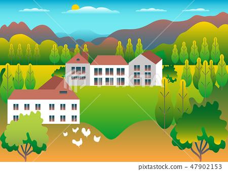 Rural Farm countrysideVillage landscape ranch 47902153