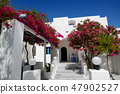 Building of hotel in traditional Greek style 47902527