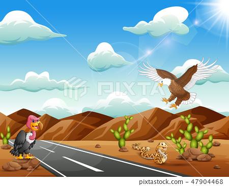 Cartoon eagle bird,vulture and snake living 47904468