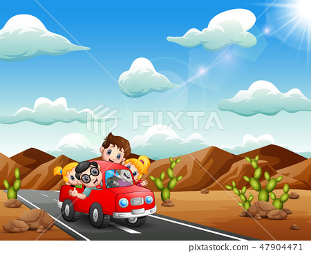 Happy children traveling by red car 47904471