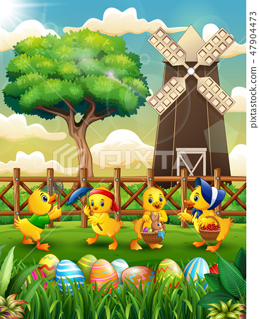 Happy Easter background farm with a bunch duck 47904473