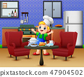 Cartoon cute little boy in apron and chef's hat 47904502