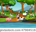 Cartoon Animal farm enjoying in the park 47904516