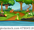 Happy different animal enjoying by the river 47904518