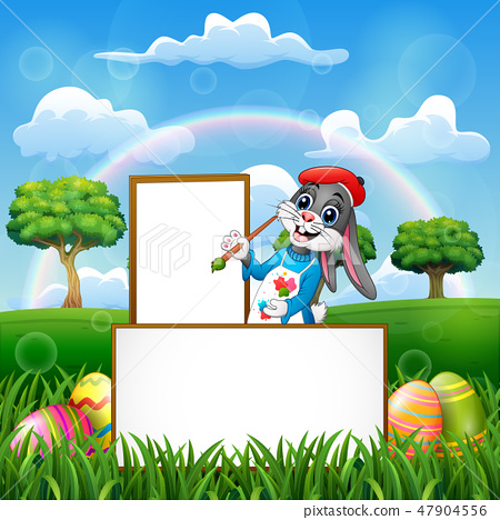 Easter rabbit painting in an empty board 47904556