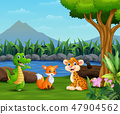 Wild animals playing on the beautiful landscape 47904562