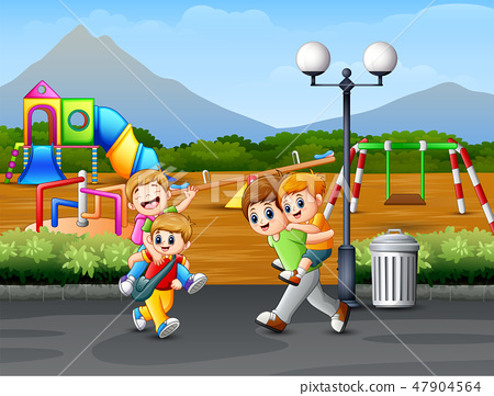 Happy children playing on the road 47904564