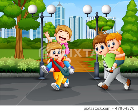 Happy children playing on the road 47904570