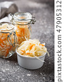 Homemade sauerkraut or pickled cabbage 47905312