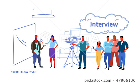 professional camera recording female presenter interviewing in television studio with crew reporter 47906130