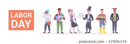 labor day poster people of different professional occupation holiday celebration concept standing 47906149