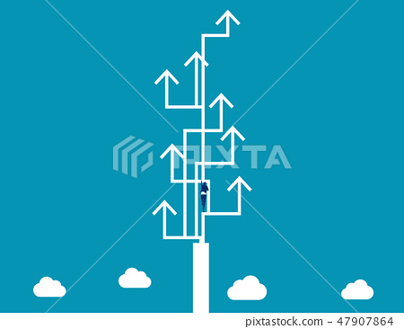 Businessman climbing of arrows symbol. 47907864