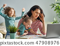computer, stress, mother 47908976
