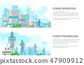 Set of Banners with Electric Power Transmission 47909912
