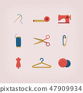 Collection of vintage retro tailor equipment. 47909934