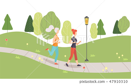 Young Women Running Jogging in Park, Girls Doing Physical Activities Outdoors, Healthy Lifestyle and 47910310