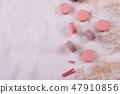 Beautiful pink tasty macaroons  47910856