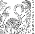 Flamingo in summer time coloring book 47911712