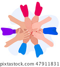 People putting their hands together. Friends with stack of hands. Unity and teamwork, top view. 47911831