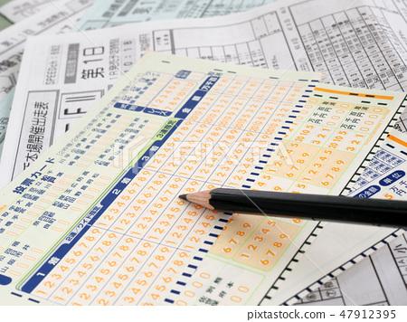 種族選票卡和鉛筆 47912395
