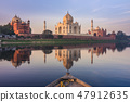 Boat ride on Yamuna river near Taj Mahal 47912635